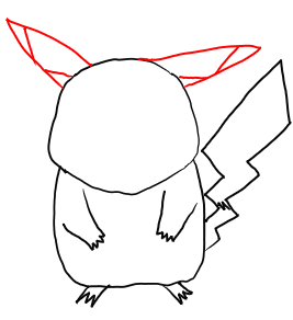 Step 4 Step by Step Drawing Lesson : How to Draw Pikachu from Pokemon for Kids