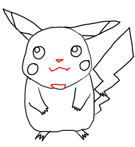 Step 6 - Drawing Pikachu from Pokemon Step by Step Drawing Lessons