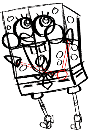 spongebob-14 Draw Spongebob's arms and hands.