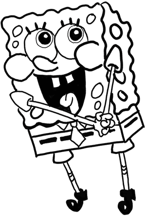 spongebob-16 Now outline the 'right' lines with marker or pen