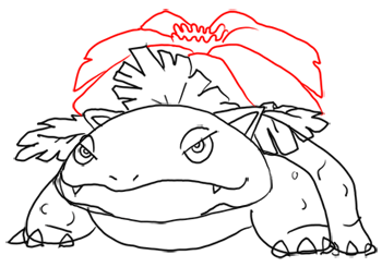 Step 10 - Step by Step Drawing Lesson : How to Draw Venusaur from Pokemon for Kids