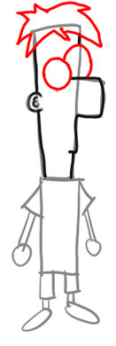 Step 3-How to Draw Ferb from Phineas and Ferb for Kids : Step by Step Drawing Lesson