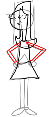 Step 6 - How to Draw Candace from Phineas and Ferb for Kids : Step by Step Drawing Lesson