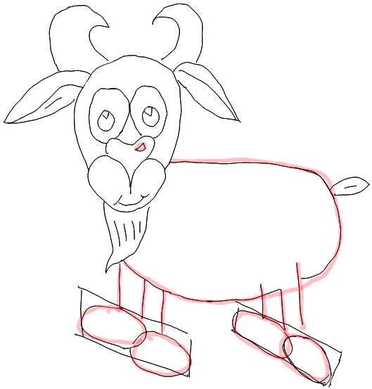 how to draw goat step by step