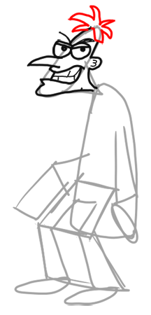 Step 8 How to Draw Dr. Doofenshmirtz from Phineas and Ferb for Kids : Step by Step Drawing Lesson