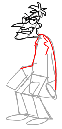Step 9 How to Draw Dr. Doofenshmirtz from Phineas and Ferb for Kids : Step by Step Drawing Lesson
