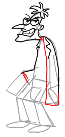 Step 10 How to Draw Dr. Doofenshmirtz from Phineas and Ferb for Kids : Step by Step Drawing Lesson