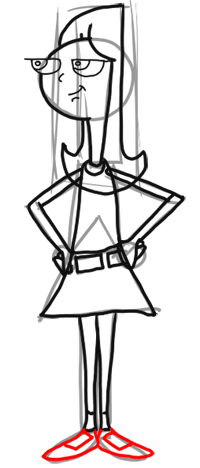 Step 10 How to Draw Candace from Phineas and Ferb for Kids : Step by Step Drawing Lesson