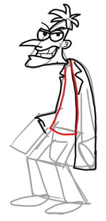 Step 11 How to Draw Dr. Doofenshmirtz from Phineas and Ferb for Kids : Step by Step Drawing Lesson