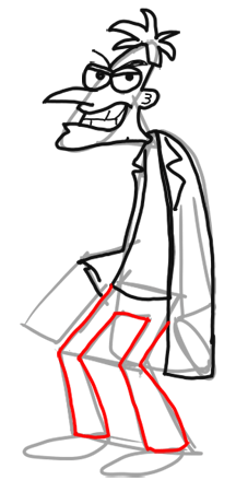 Step 12 How to Draw Dr. Doofenshmirtz from Phineas and Ferb for Kids : Step by Step Drawing Lesson