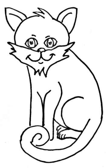 Finished Drawing of How to Draw Cartoon Cats Step by Step Drawing Tutorial for Kids