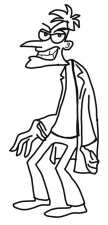 Finished-How to Draw Dr. Doofenshmirtz from Phineas and Ferb for Kids : Step by Step Drawing Lesson