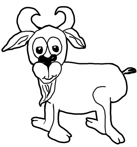 Finished Drawing of Cartoon Goat