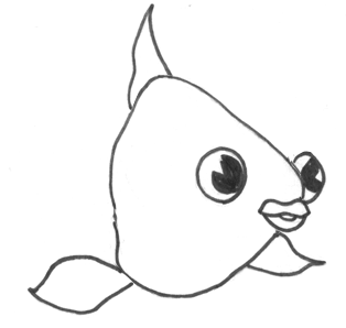 how to draw a cartoon puffer fish step by step