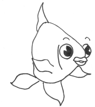 Finished How to Draw a Cartoon Fish Step by Step Drawing Tutorial for Kids
