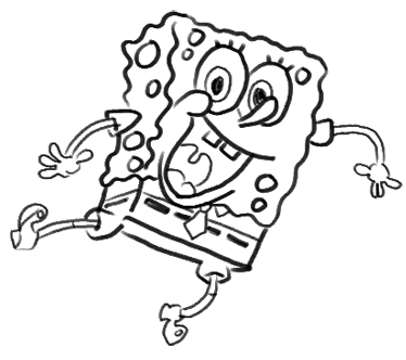 Step 18 How to Draw Spongebob Squarepants Doing the Wave : Step by Step Drawing Lessons