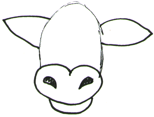 Step 2 How to Draw Cartoon Cows / Farm Animals Step by Step Drawing Lessons