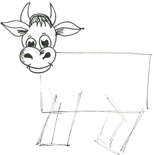 Step 5 How to Draw Cartoon Cows / Farm Animals Step by Step Drawing Lessons