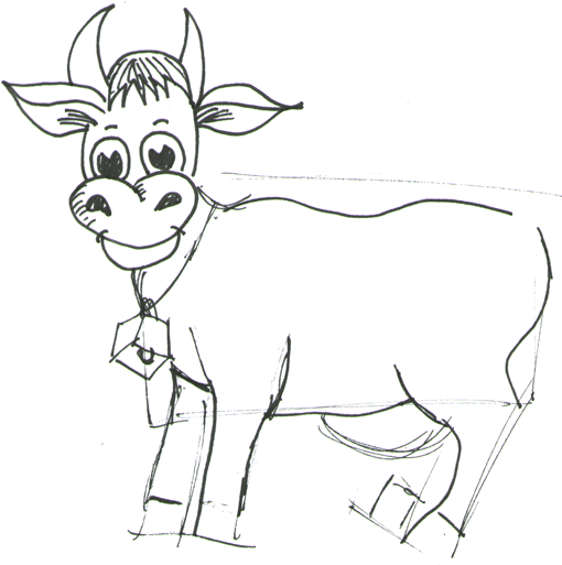 Step 6 How to Draw Cartoon Cows / Farm Animals Step by Step Drawing Lessons