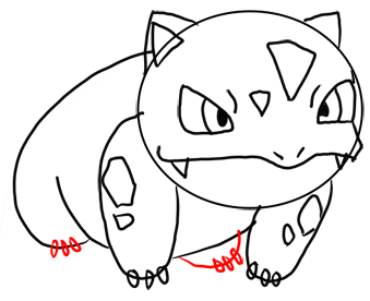 Step 10 How to Draw Ivysaur from Pokemon for Kids : Step by Step Drawing Lesson
