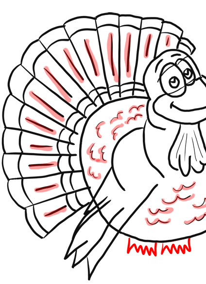 Step 11 How to Draw Cartoon Turkeys Thanksgiving Animals Step by Step Drawing Lesson