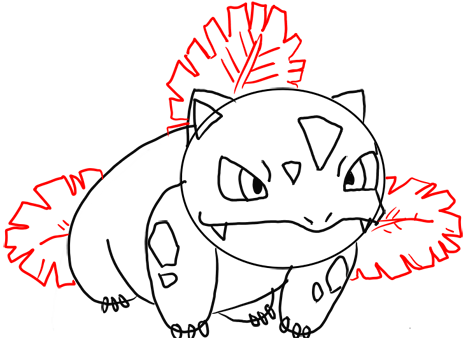 Step 11 How to Draw Ivysaur from Pokemon for Kids : Step by Step Drawing Lesson