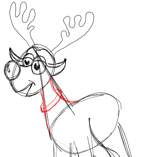Step 12 How to Draw Cartoon Reindeers Step by Step Drawing Lessons