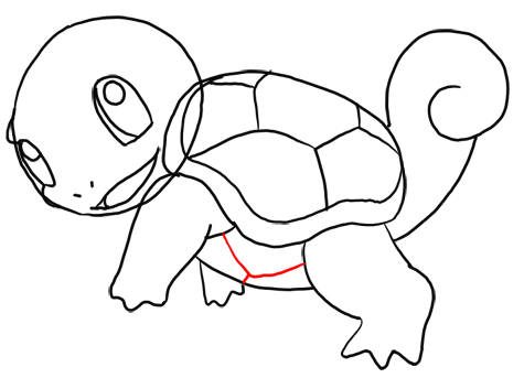 Step 12 How to Draw Squirtle from Pokemon for Kids : Step by Step Drawing Lesson