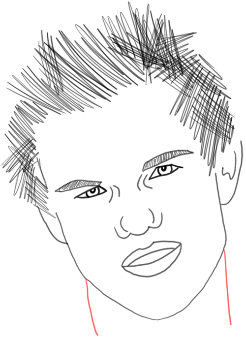 Step 22 Taylor Lautner : How to Draw Taylor Lautner Step by Step Drawing Tutorial