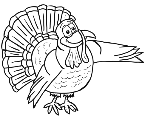 finished Drawing of Cartoon Turkey for Thanksgiving Holiday