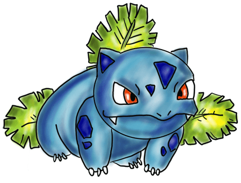 Finished Ivysaur Colorized Picture drawing step by step
