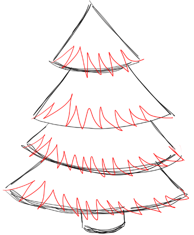 Step 4 How to Draw Christmas Trees Step by Step Drawing Lesson