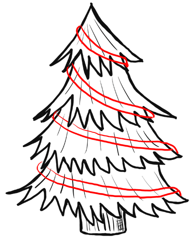 Step 6 How to Draw Christmas Trees Step by Step Drawing Lesson