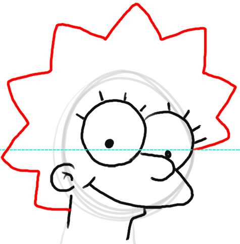 Step 6 How to Draw Lisa Simpson from The Simpsons : Step by Step Drawing Lesson