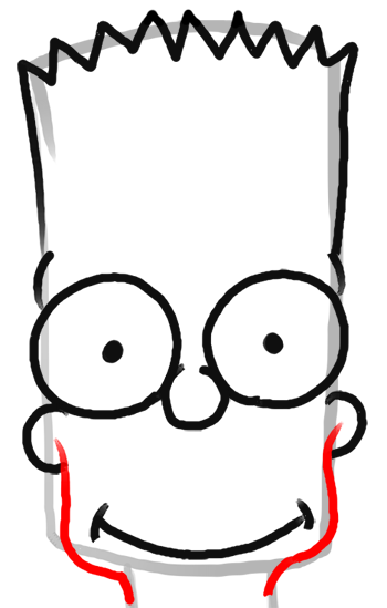 Step 7 How to Draw Bart Simpson from The Simpsons : Step by Step Drawing Lesson