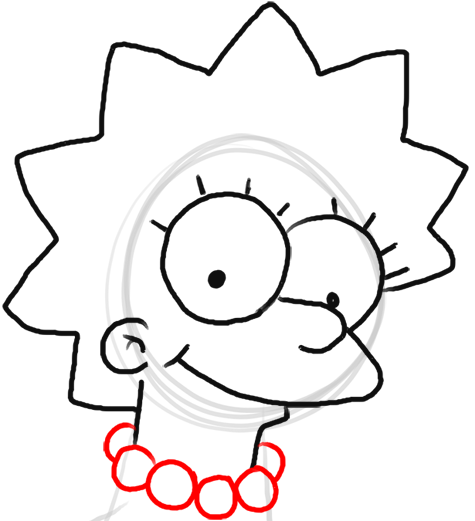 Step 7 How to Draw Lisa Simpson from The Simpsons : Step by Step Drawing Lesson