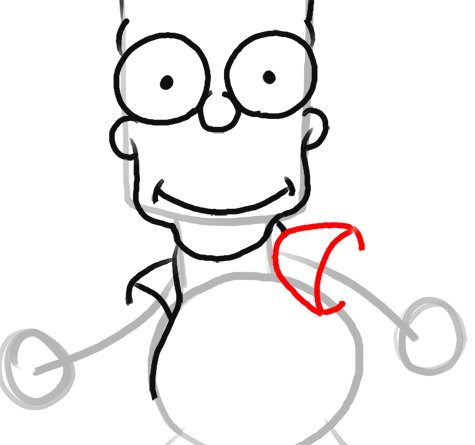 Step 10 How to Draw Bart Simpson from The Simpsons : Step by Step Drawing Lesson