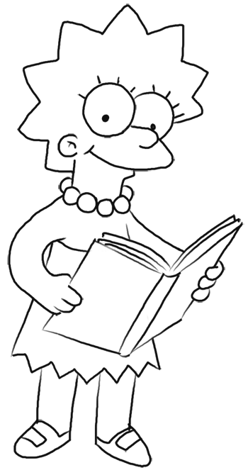 How to Draw Lisa Simpson from The Simpsons : Step by Step Drawing Lesson
