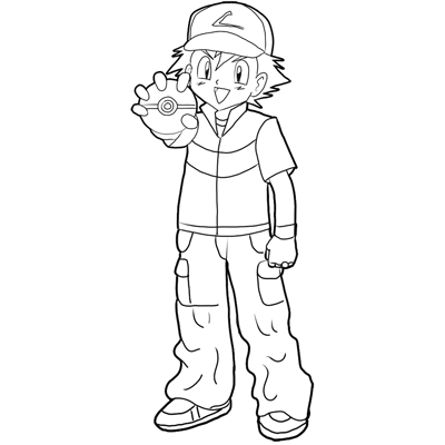 How To Draw Ash Ketchum From Pokemon  Step By Step Drawing Lesson - How To Draw Step By Step ...
