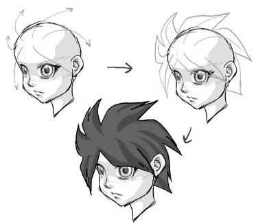 Step 10 How to Draw Anime / Manga Hair Sytles with Drawing Tutorials