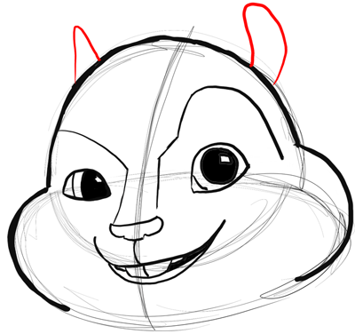 now lets start drawing alvins chipmunk