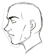 how to draw a side profile face step by step