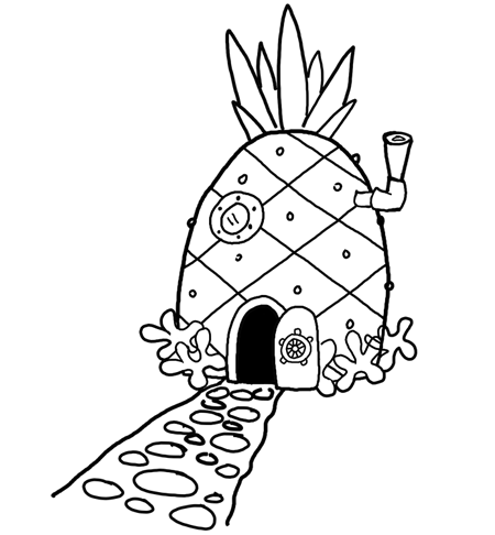How To Draw Spongebob Squarepants Pineapple House With