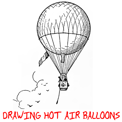 hot air balloon drawing how to draw hot air balloons with easy step by step lesson