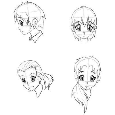 Draw anime faces heads drawing manga faces step by step tutorials