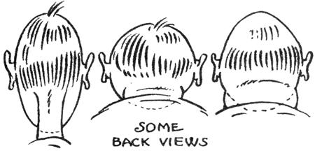 Cartoon backs of heads