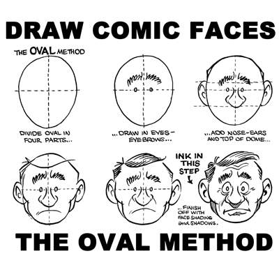 How to Draw Comic Cartoon Faces / Heads with the Oval Method of ...