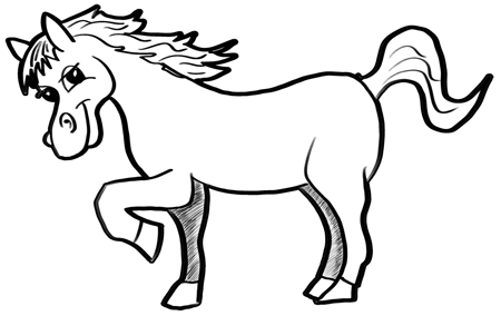 Step 16 finished cartoon drawing of a horse
