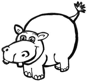 how to draw cartoon hippos hippopotamus with easy step by step
