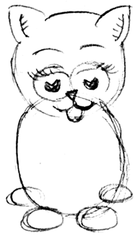 how to draw cartoon cats and kittens step by step
